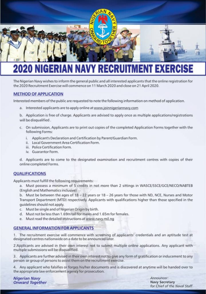 Nigerian Navy 2020 Recruitment Exercise & How To Apply Online