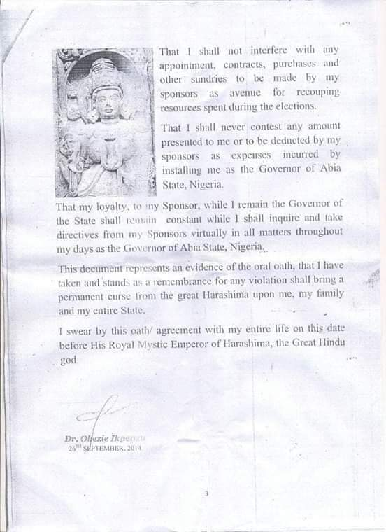 Oath of Absolute Loyalty Discovered in Senator T.A Orji House by EFCC
