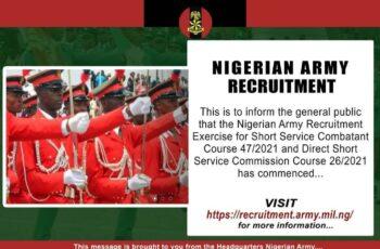 Nigerian Army DSSC/SSC Recruitment 2020/2021