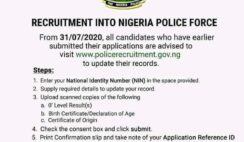 How to Update Your Nigeria Police 2020 Recruitment Application