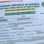 Special Public Works (SPW) Beneficiary Account Verification Form for Second Stage