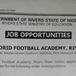 Rivers State Real Madrid Football Academy Job Recruitment 2020 – Apply Now