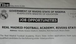 Rivers State Real Madrid Football Academy Job Recruitment 2020