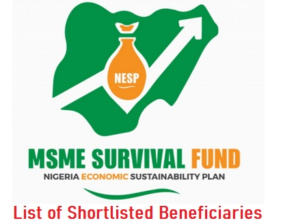 FG MSME Survival Fund List of Shortlisted Beneficiaries - Check Here www.survivalfund.ng