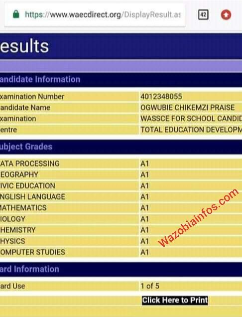 WAEC 2020: Meet Ogwubie Chikemzi Praise who Made Parallel A's in Her WAEC Result