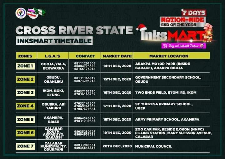 Cross Rivers State Inksnation Market Venues And Dates