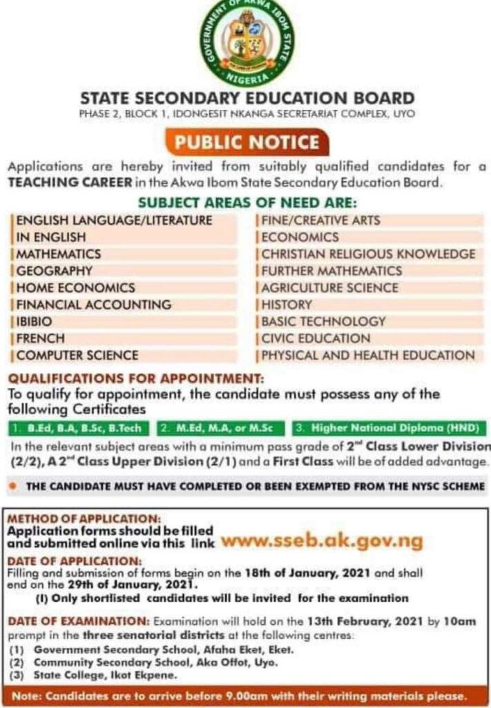 Akwa Ibom State Secondary Education Board Job Recruitment 2021 Application Form Portal