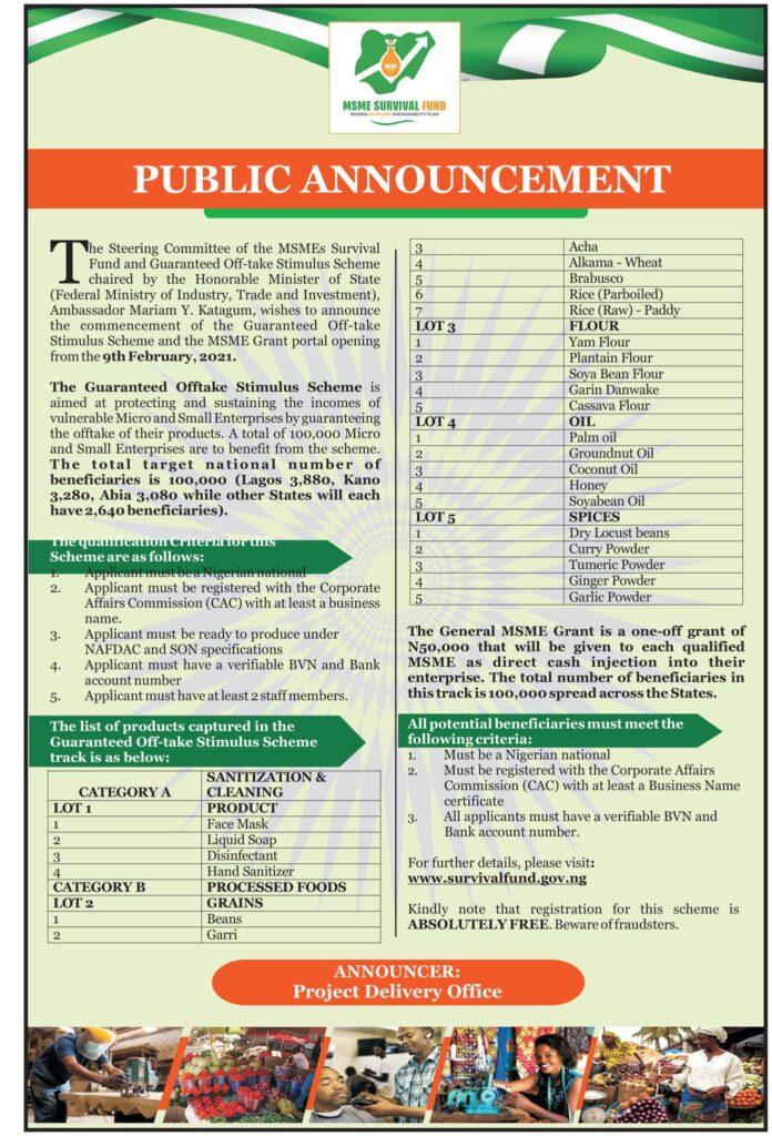 Guaranteed Offtake Stimulus Scheme Application Form Portal 2021
